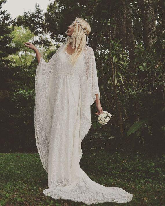 188a8523959 Gypsy Lace Beaded Train Bridal Kaftan Beach Wedding by Fairtale