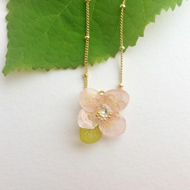 幸せになれる 愛すべき花 紫陽花アナベル ネックレス ベル ネックレス あじさい ネックレス