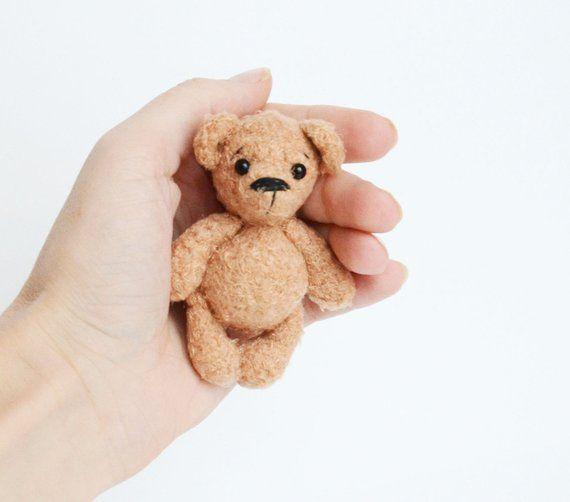 Teddy bear, brown bear, little bear, cute bear, miniature bear, bear with black eyes, plush bear, soft bear,sleek bear,toy palm,crochet bear #beartoy