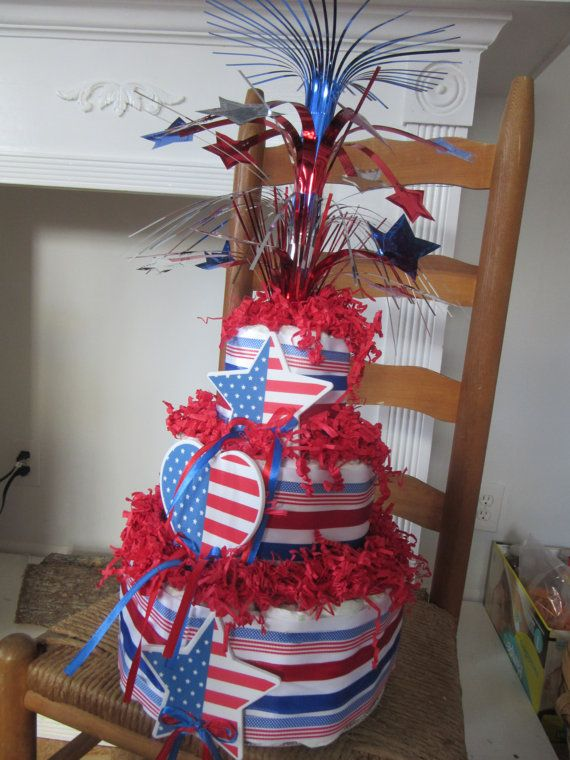 4th of July Baby Shower Diaper Cake Red White Blue by ...