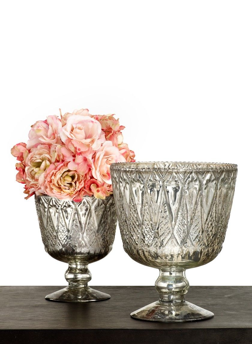Wedding Decorations Glass Bowls 7In & 9In Patterned Silver Mercury Glass Coupes  Mercury Glass