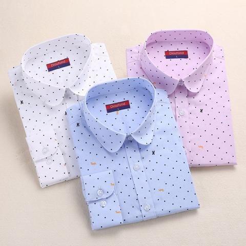 41d137d5dfa7c Dioufond Cotton Polka Dot Blouse Small Dots Long Sleeve Women Shirts  Colorful Polka Dot Shirt Women Blouse Shirt Ladies Tops