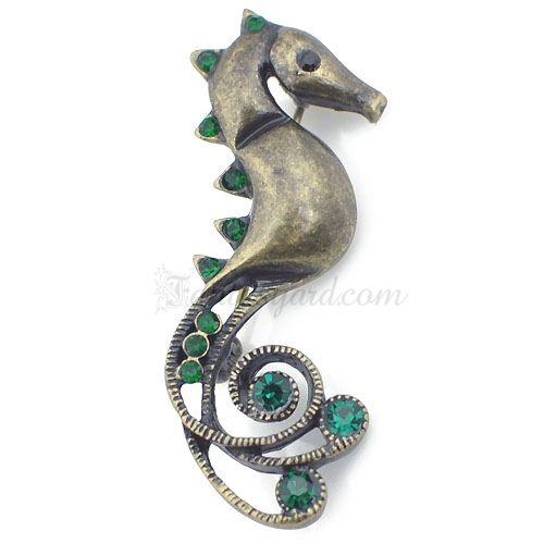 Antique Emerald Crystal Seahorse Brooch