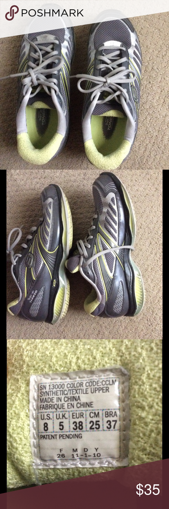 Skechers shape-up toners sneakers Great preowned shoes in good shape. Very comfortable and fits great. Gray and lime green color size 8 Skechers Shoes Sneakers