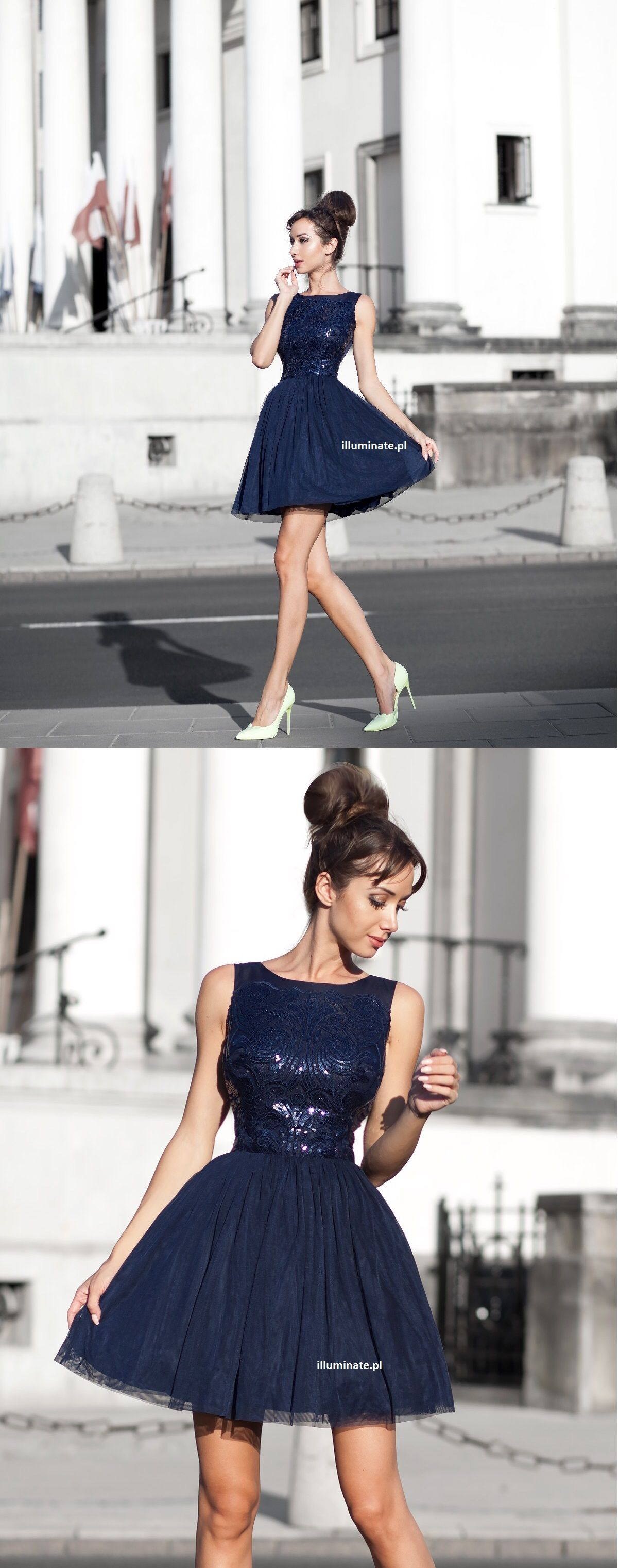 Tiulowa Granatowa Sukienka Elegancka Sukienka Na Wesele Illuminate Pl 349zl Dresses Evening Dresses Fashion