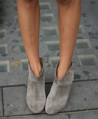 cement suede booties