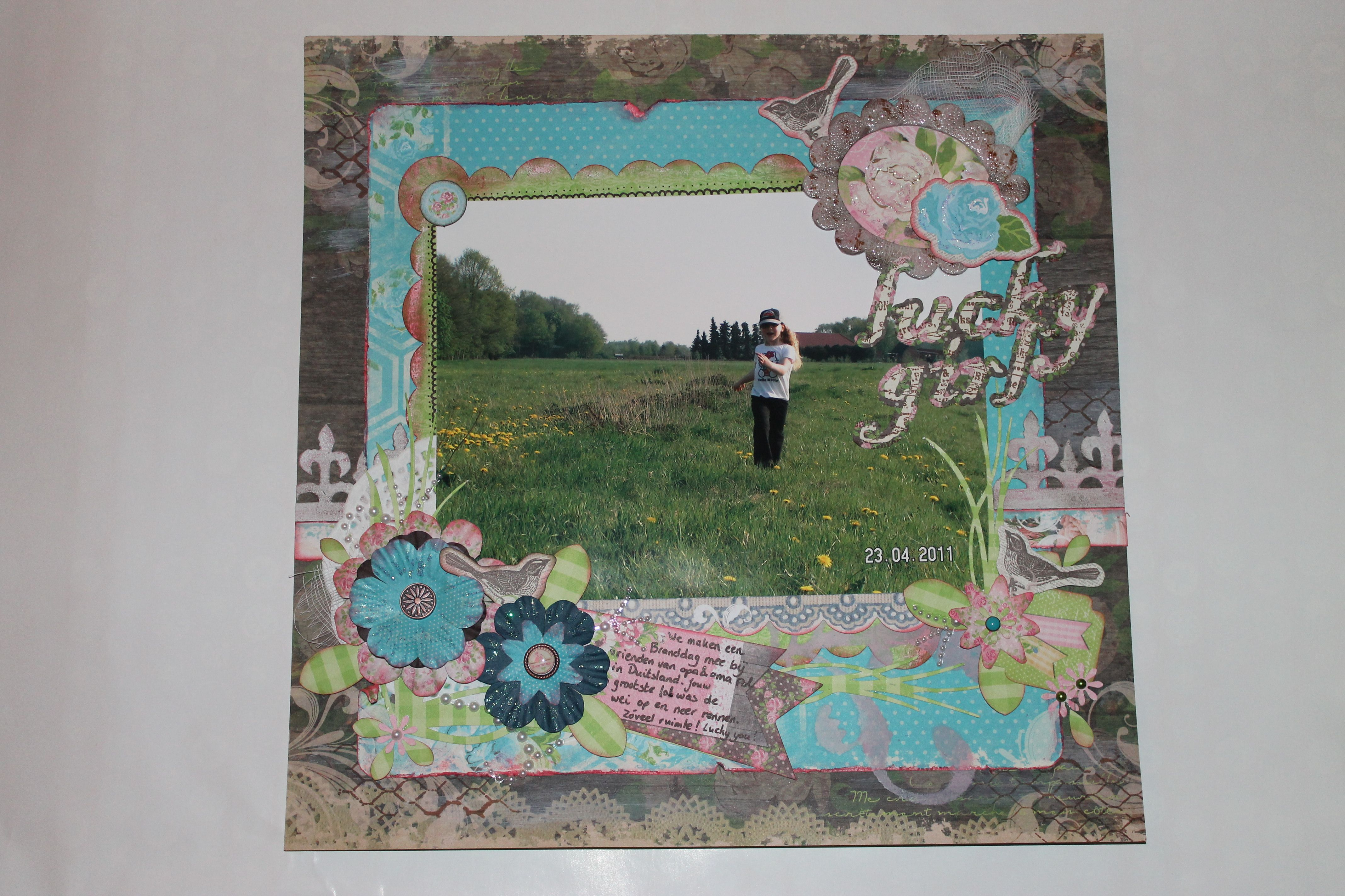 """Bo Bunny Prairie Chic. I made this page for a challenge. The word """"Lucky"""" was mandatory."""