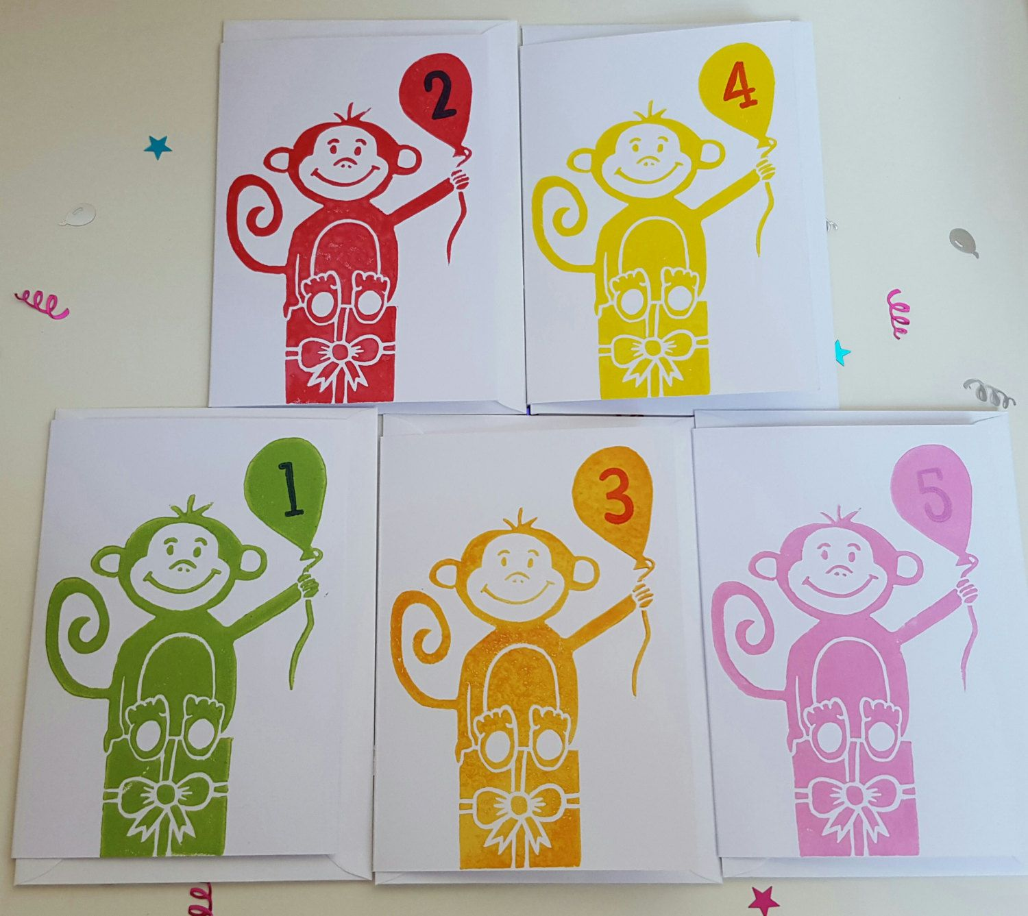Cheeky happy monkey hand printed lino cut childrenus birthday card