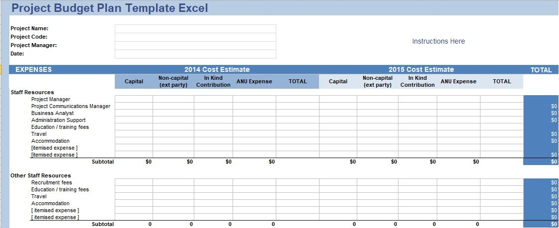 Project Budget Plan Template Excel Download Project