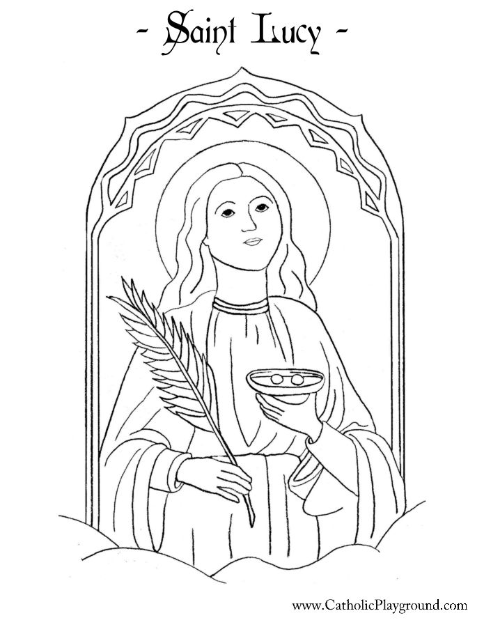 Saint Lucy Coloring Page Catholic Playground Malvorlage