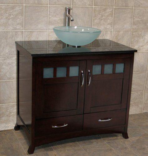 Solid Wood 36 Bathroom Vanity Cabinet Black Granite Top Vessel