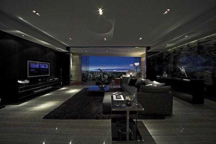 Inspirational contemporary interior design ideas down lit dark living room interiors design for Interior design dark