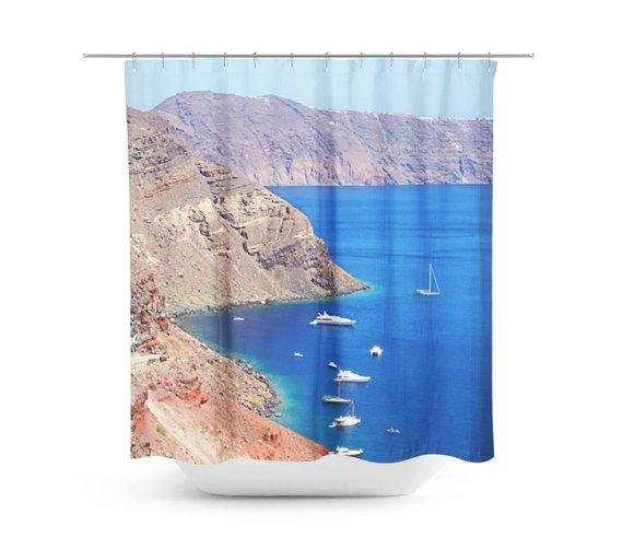 Greek Shower Curtain Blue Bathroom Decor Sanorini Greece
