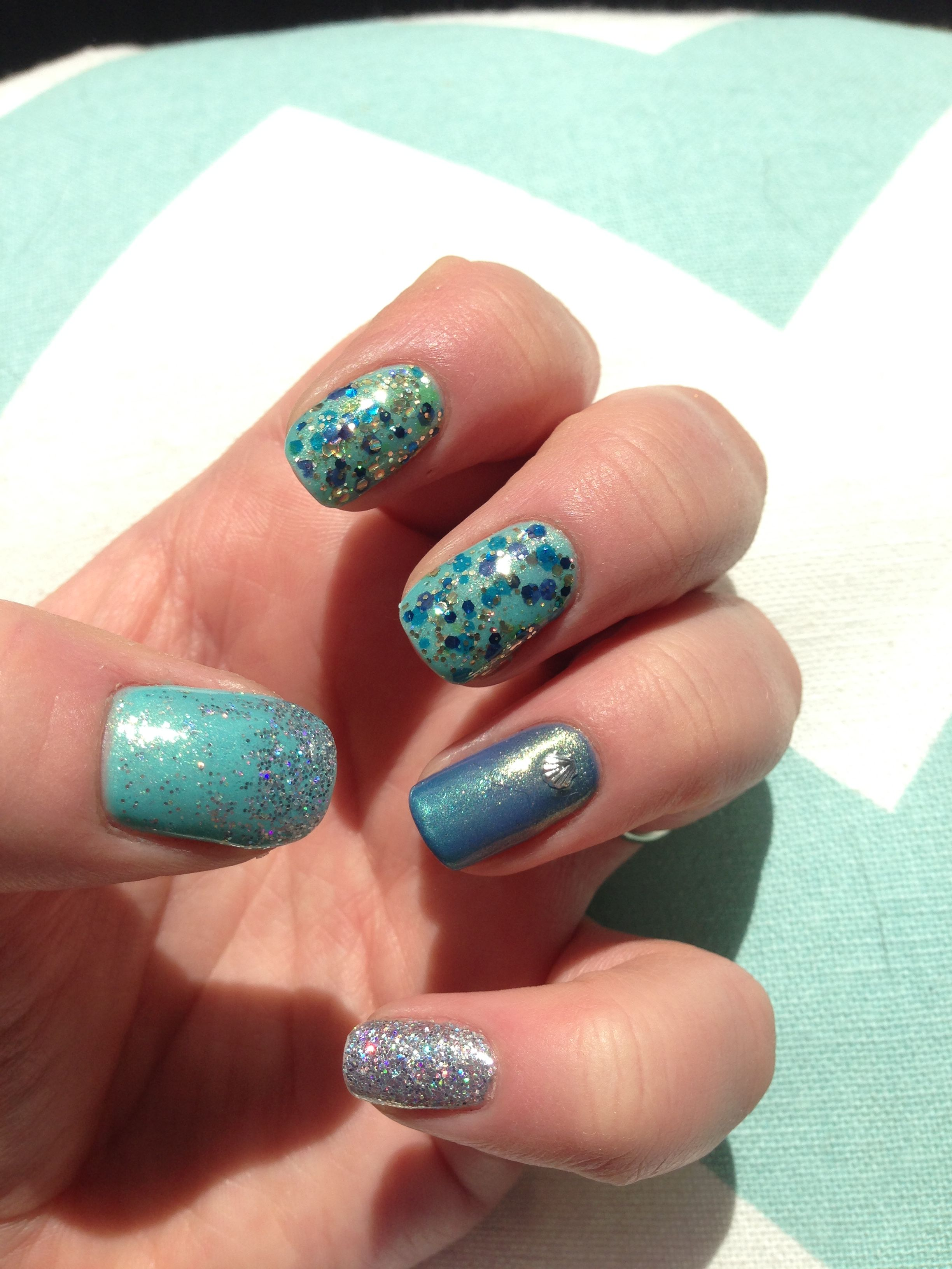Amazing summer Mermaid inspired nails, by JJ Nails! Gelish colours ...