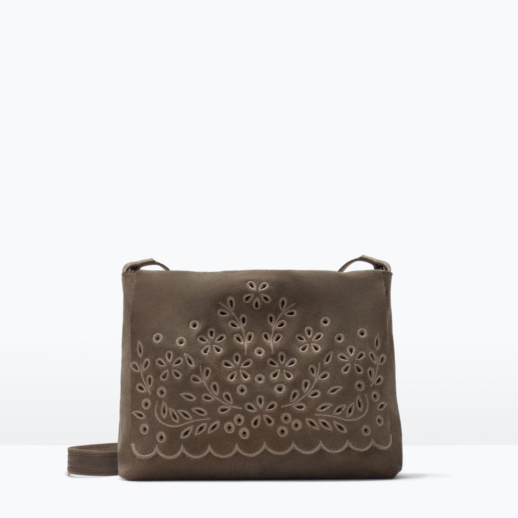 ZARA - SHOES & BAGS - EMBROIDERED SUEDE MESSENGER BAG