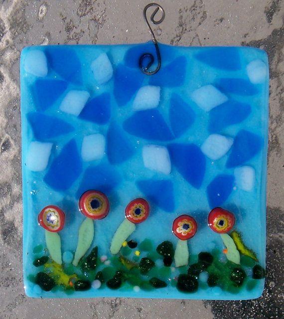 Blue sky suncatcher by CrazyEyeFusedGlass on Etsy, $25.00