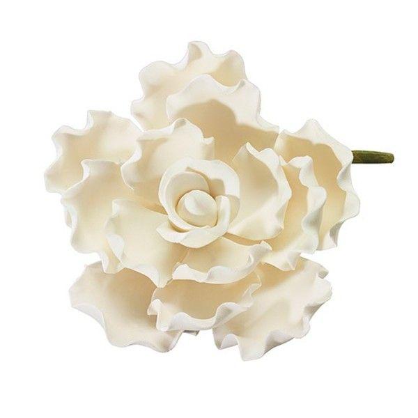 Flor con pétalos rizados de color marfil - Culpitt