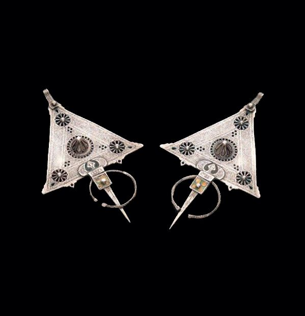 Morocco ~ Anti Atlas | Pair of silver and enamel fibulae | Est. 1'800 - 2'000€ ~ (Jun '14)