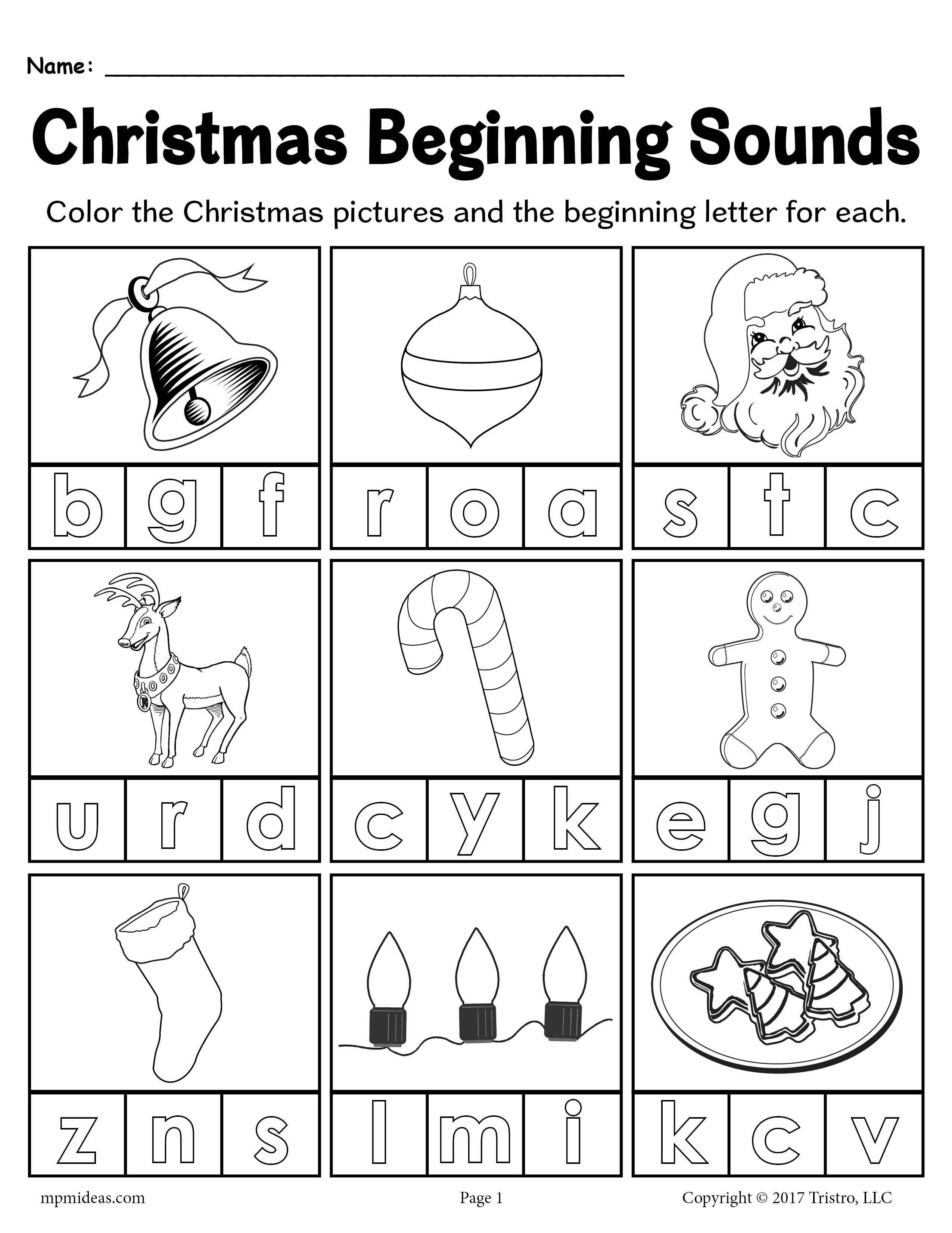 Printable Christmas Beginning Sounds Worksheet Beginning Sounds Worksheets Free Kindergarten Worksheets Christmas Worksheets