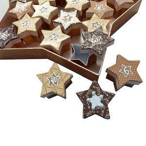 #Adventskalender aus Sternen basteln. Gleich selber machen: http://www.trendmarkt24.de/pappboxen-set-sterne-braun-24-kleine-und-1-grosser-stern.html#p