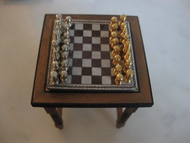 12th scale Miniature Artisan Made Wooden Game Table and Game signed on bottom