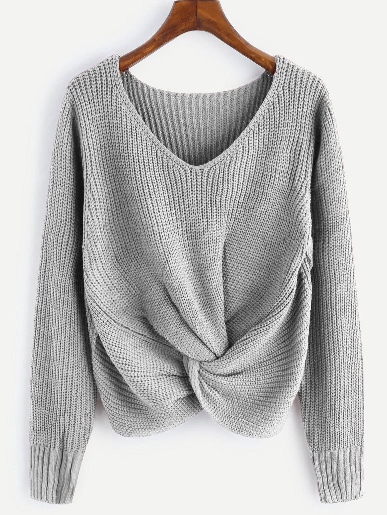 9a025c56428bb9 Shop V-neckline Twist Front Sweater online. SheIn offers V-neckline Twist  Front Sweater   more to fit your fashionable needs.