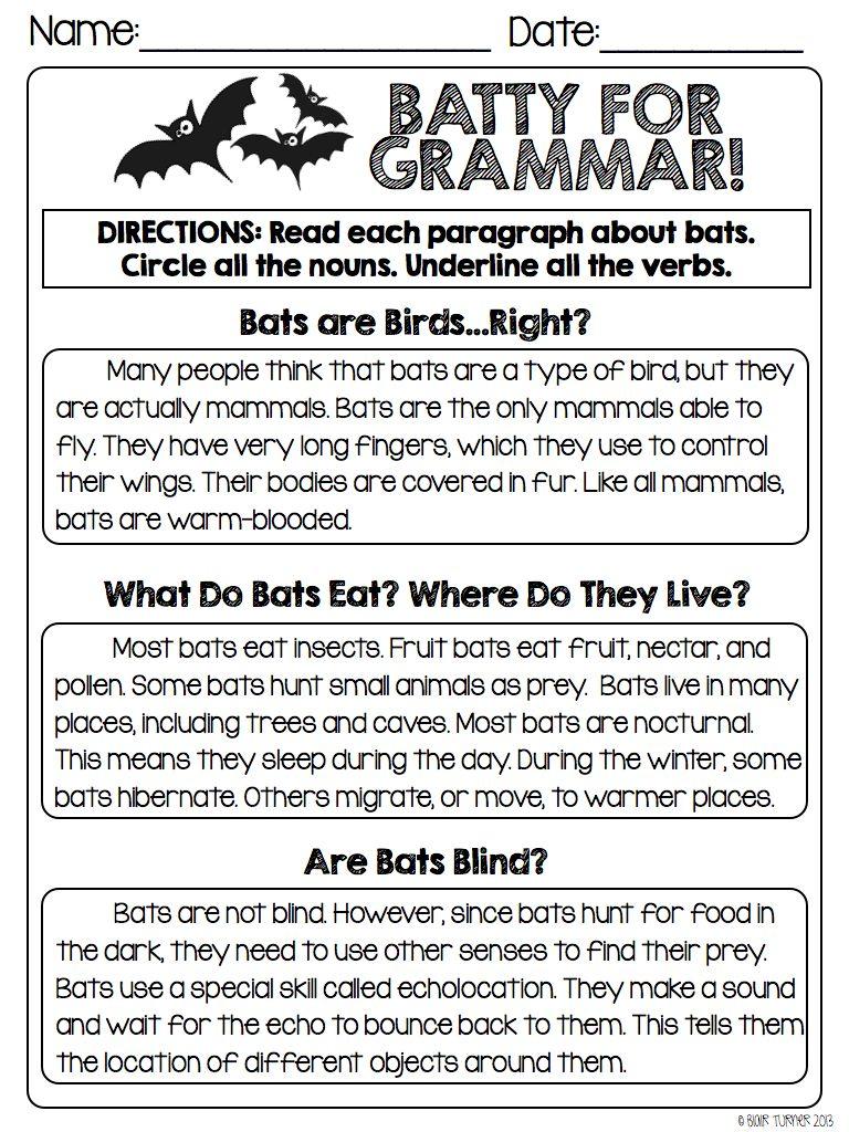 hight resolution of Halloween Grammar Packet   Grammar