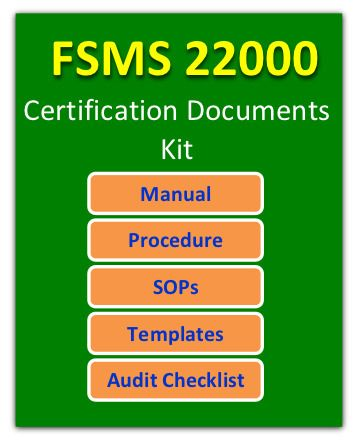 FSMS 22000 Documents for Food Safety Certification Food safety - manual templates
