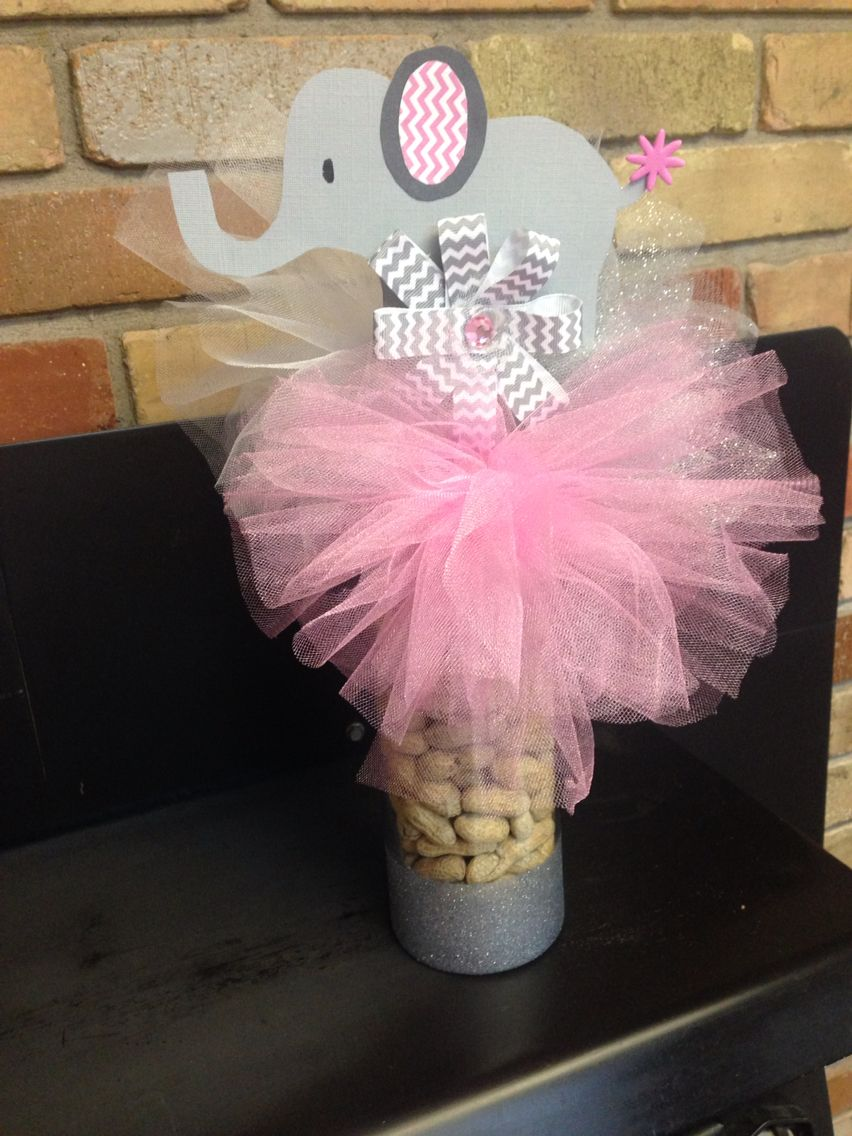 Baby shower for a girl table center piece pink grey