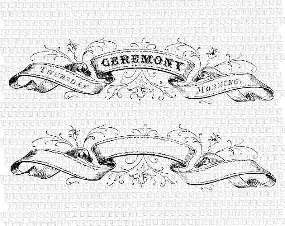 Digital Ribbon Heading Ceremony Vintage High Quality Victorian Etsy Vintage Banner Banner Drawing Vintage Ribbon Banner