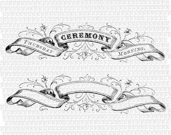 Digital Ribbon Heading Ceremony Vintage High Quality Victorian ...