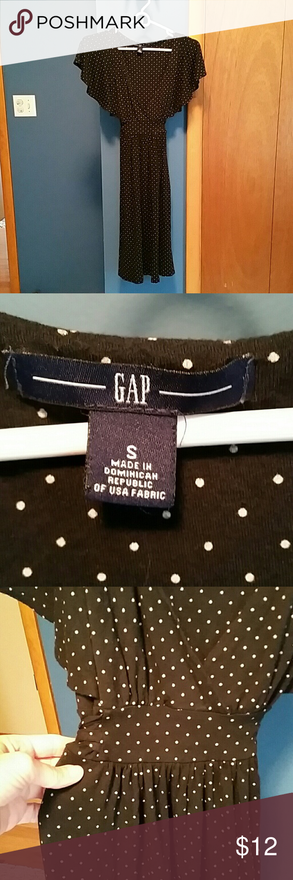 Gap dark blue and white polka dot dress In excellent condition. Belt ties around the back at the waist. Flowy cap shoulder sleeves. * GAP Dresses Midi