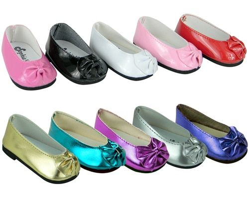 """Purple Satin Ballet Flats with Contrasting Trim /& Bow 18/"""" American Girl Dolls"""