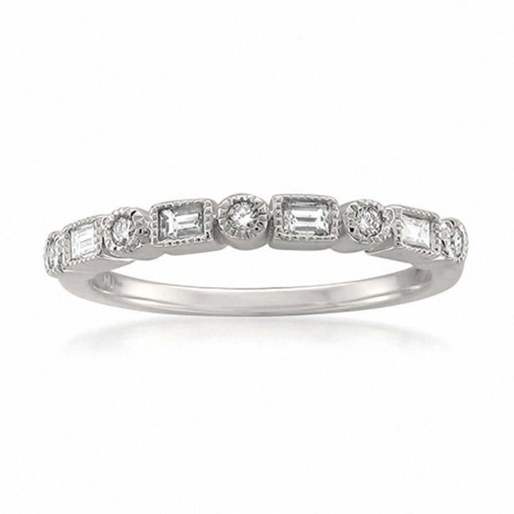 Zales 1/5 CT. T.w. Baguette and Round Diamond Alternating Anniversary Band in 10K White Gold 8YvWF1L66