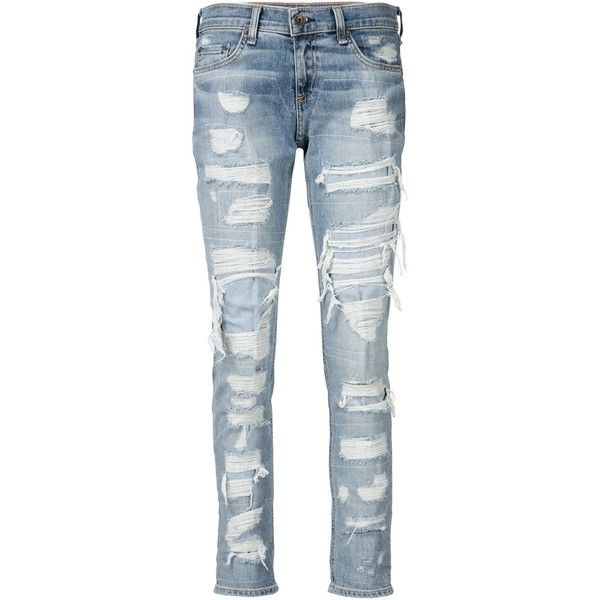 Rag & Bone /Jean distressed boyfriend jeans ($340) ❤ liked on Polyvore featuring jeans, blue, ripped boyfriend jeans, destroyed jeans, torn jeans, boyfriend fit jeans and destructed jeans