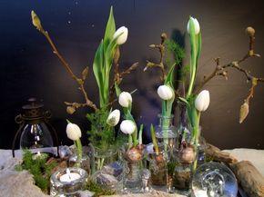 Tischdeko Tablett Mit Weissen Tulpen Ostern Pinterest Tischdeko