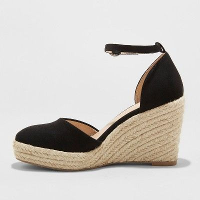 89a29a2baba Women's Olivia D'Orsay Closed Toe Espadrille Wedge - A New Day Black ...