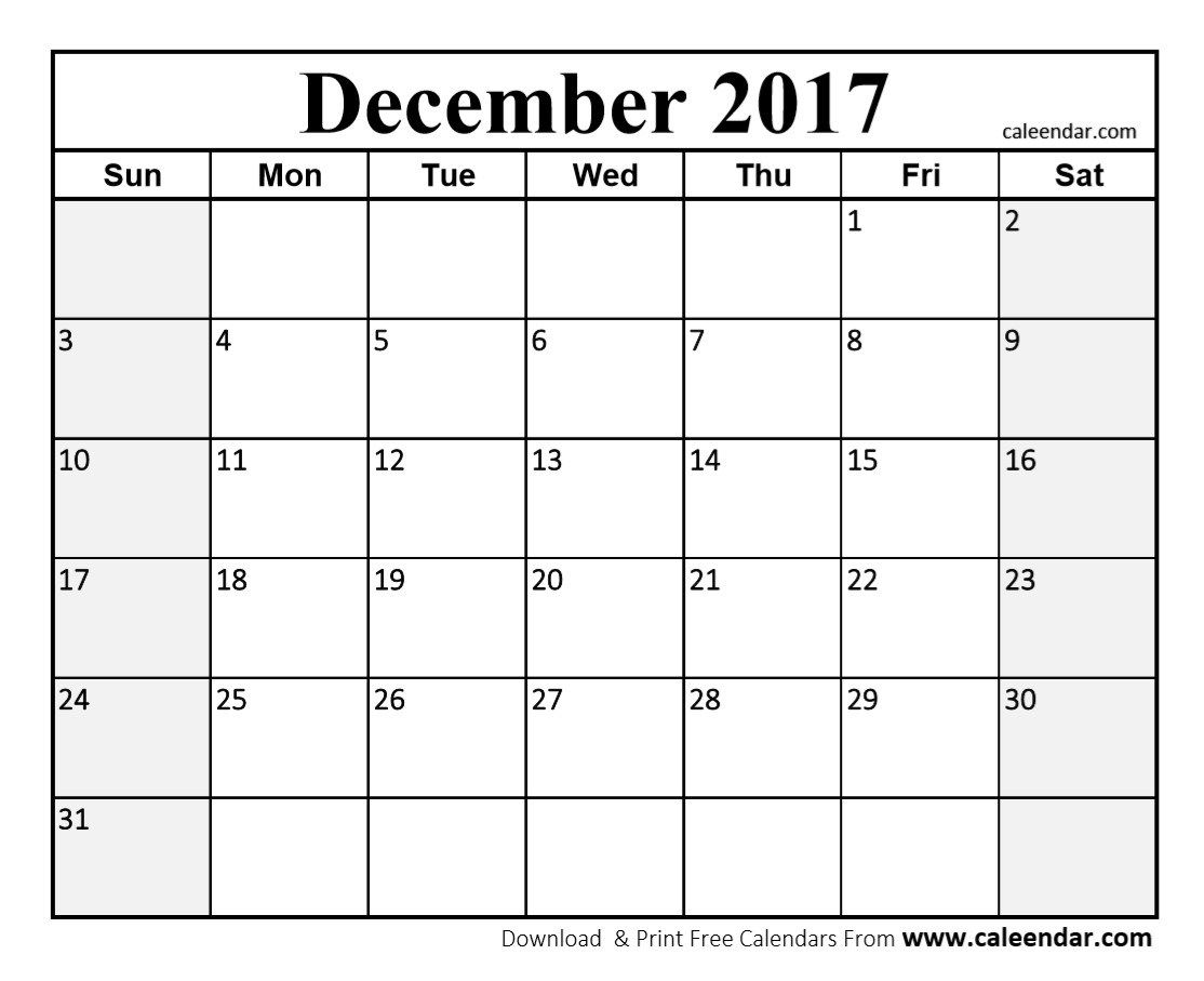 Free December 2017 Calendar Printable Holidays September