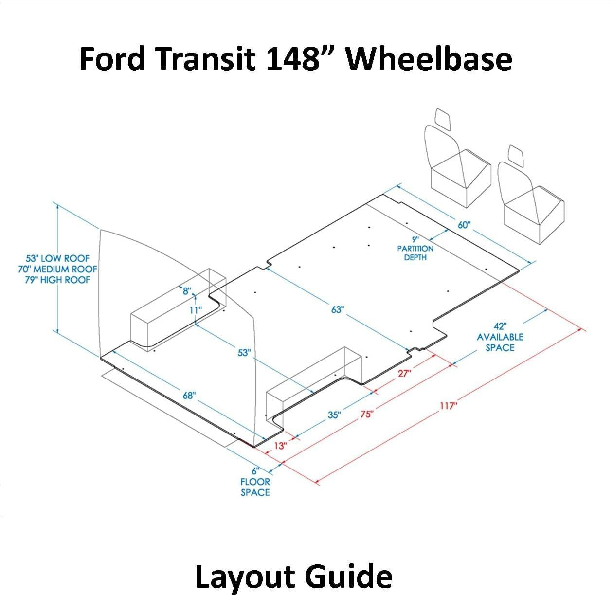 Transit 130 Wb Layout Guide U S Upfitters In 2020 Ford