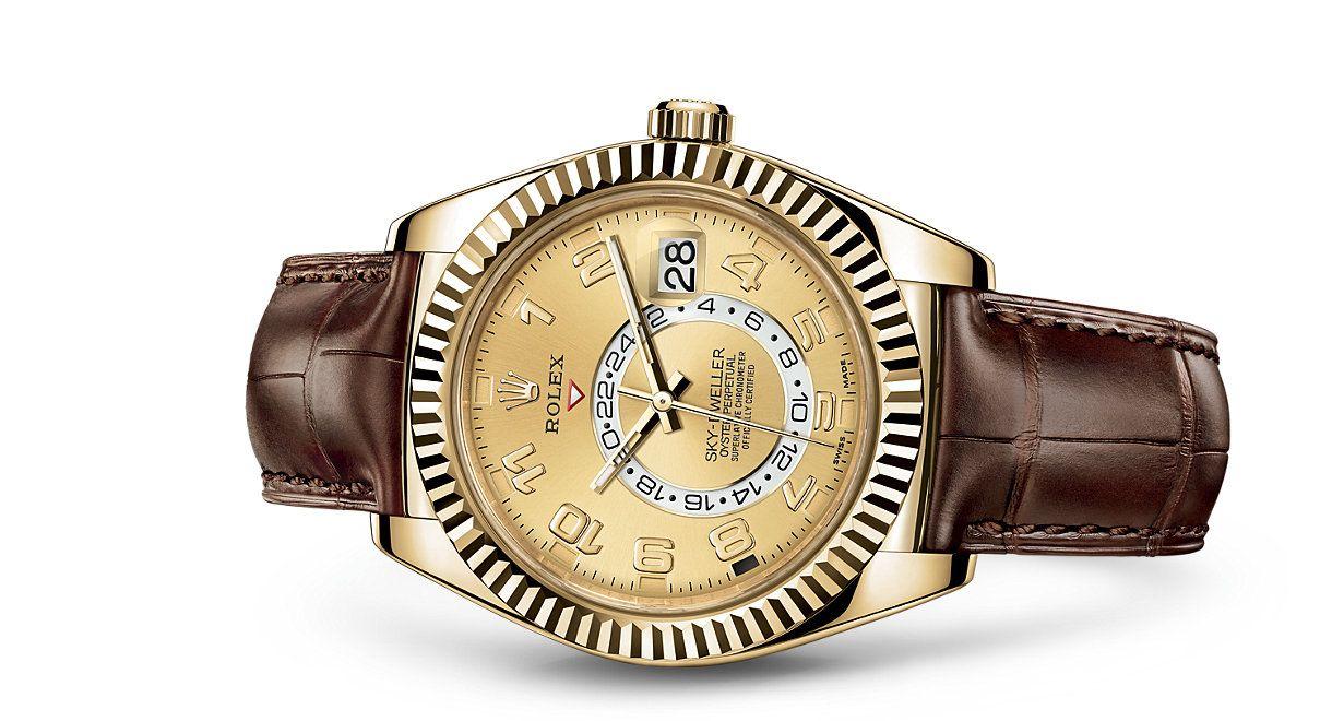 Rolex skydweller watch yellow rolesor combination of l steel