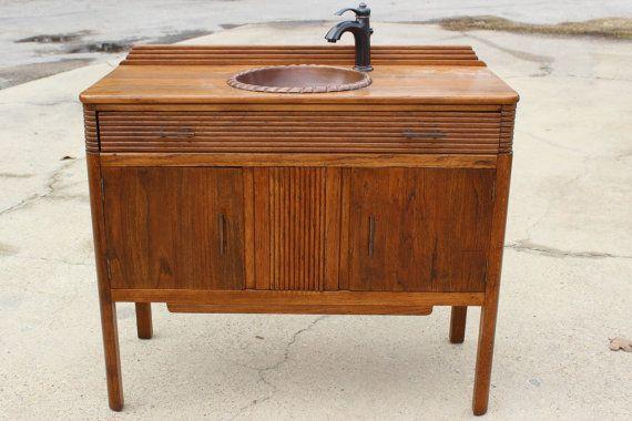 Antique Bathroom Vanity With Copper Sink Bronze Faucet Oak 42