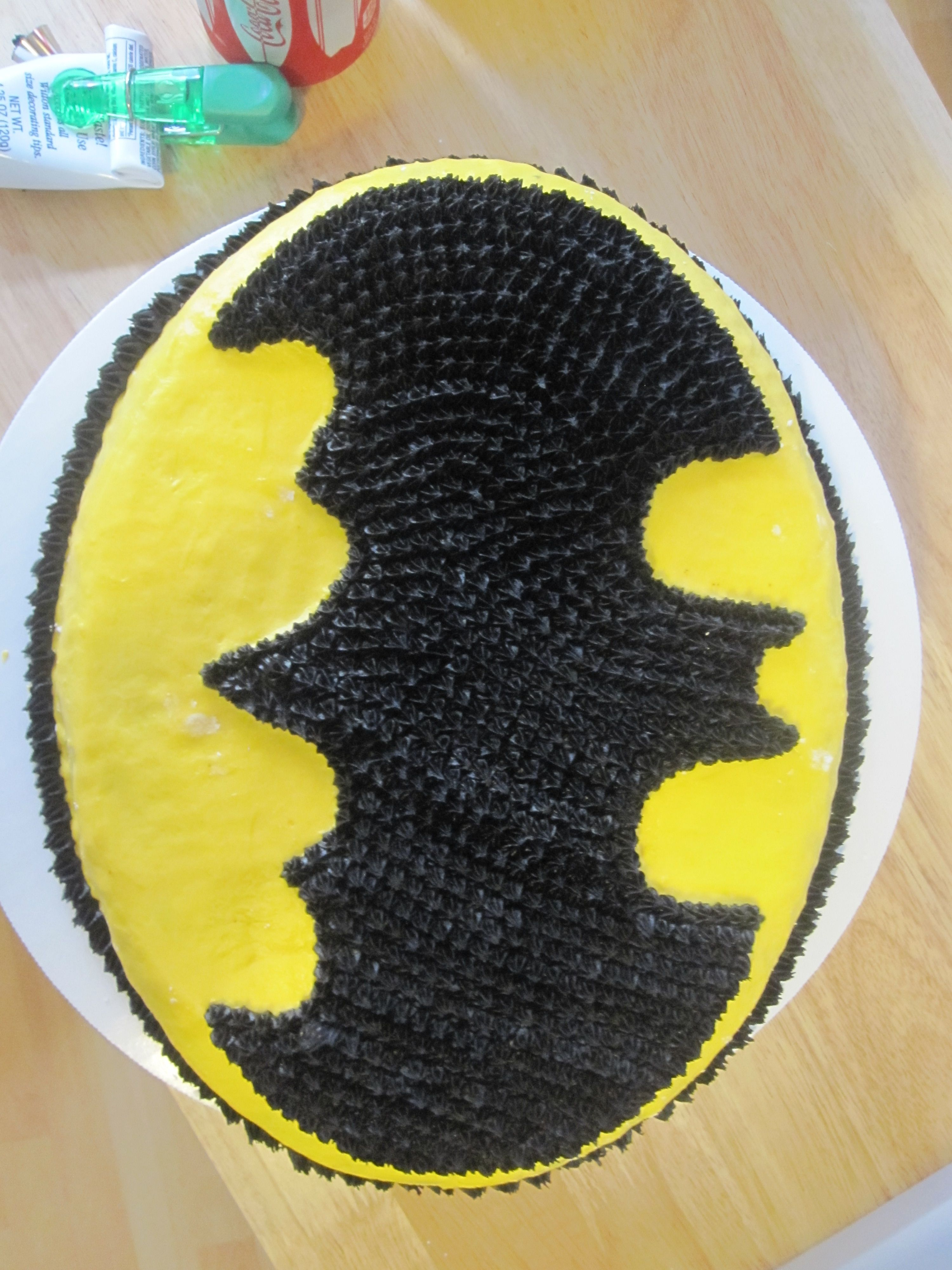Batman Symbol cake Wilton pan My Bakery Creations Pinterest