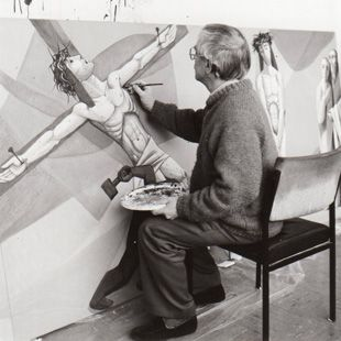 "Curd Lessig (1983) Gemünden, Arbeit am ""Kreuzweg"""