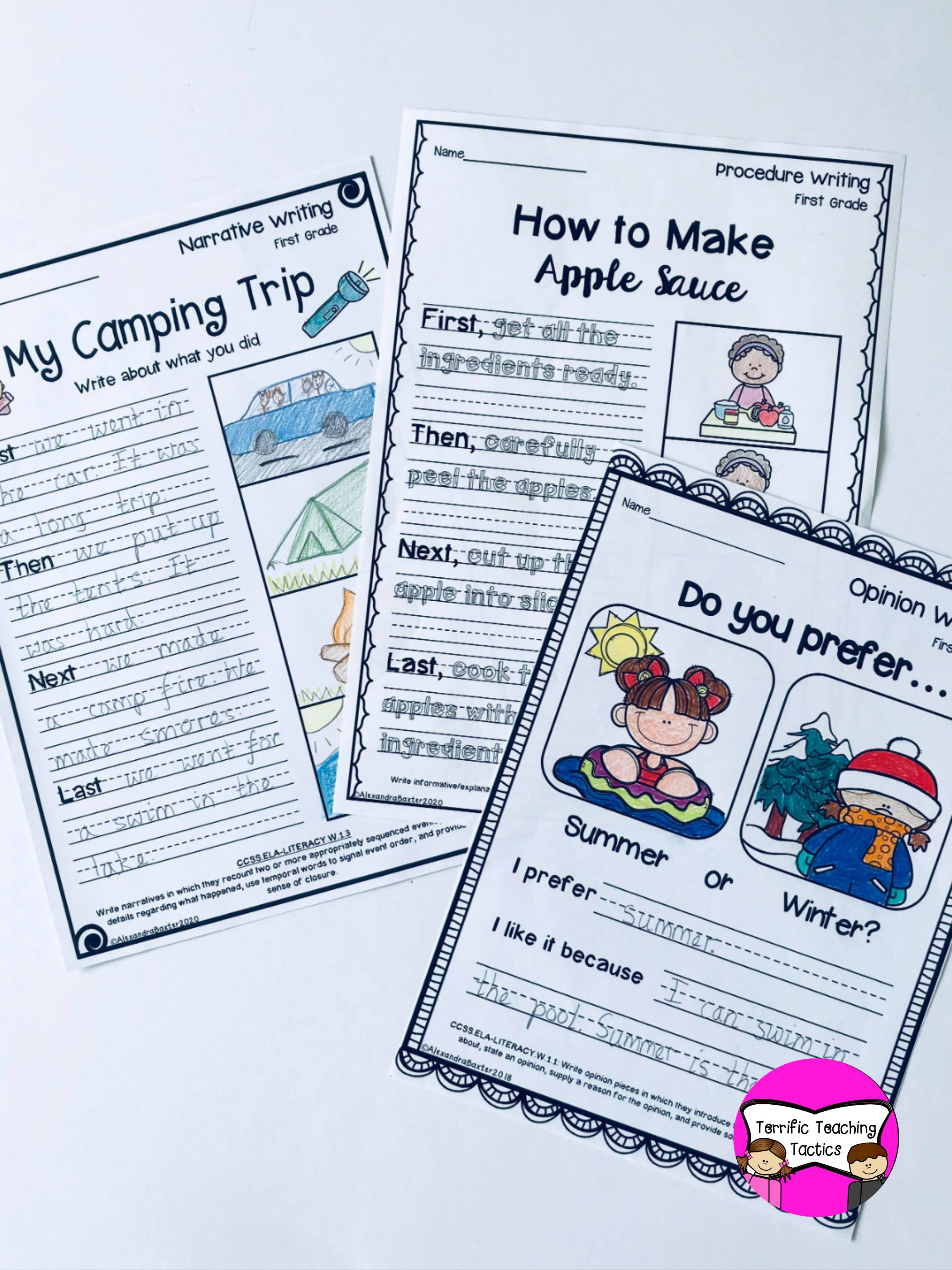 First Grade Writing Worksheets Prompts Bundle Opinion Narrative Procedure First Grade Writing Kindergarten Writing Procedural Writing [ 4032 x 3024 Pixel ]