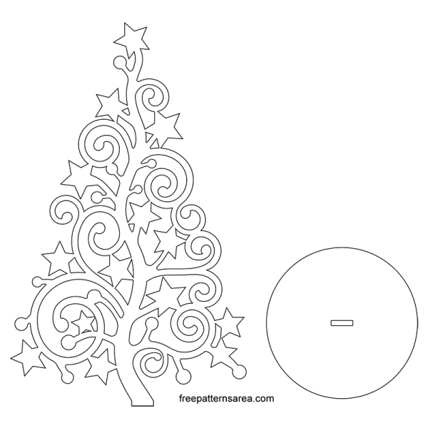 Stylized Christmas-Xmas Tree silhouette Vector Art Free