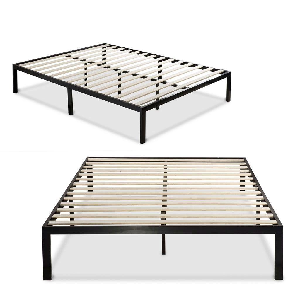 Twin Black Metal Platform Bed Frame With Wood Slats Metal Platform Bed Black Wood Bed Frame Platform Bed Frame Platform bed with wooden slats