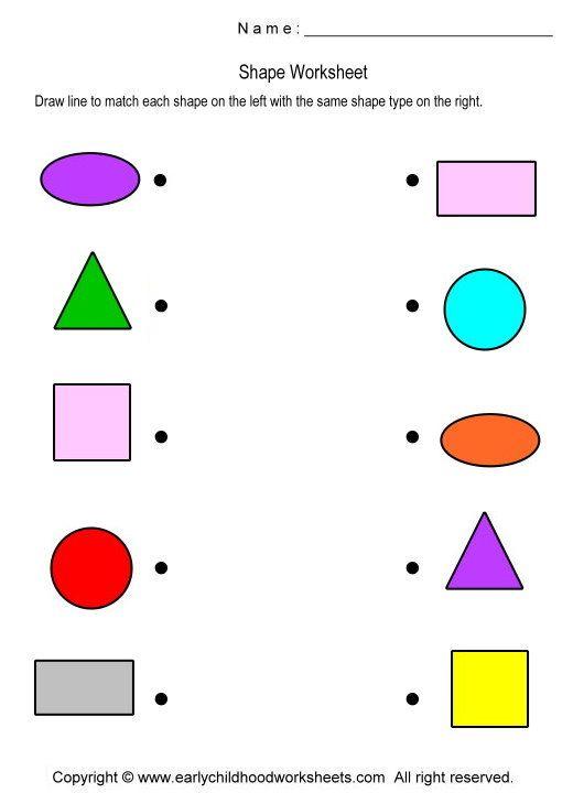 Preschool Worksheets Matching Shapes - Worksheets