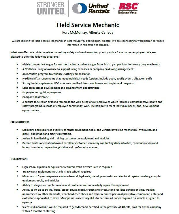 Mechanic Heavy Equipment Construction Diesel Rental Job Hiring Jobs International Relocation Canada Alberta Technician Mechanic Jobs Job Shop Job
