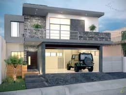 E2 Facade: Casas de estilo minimalista por arQing