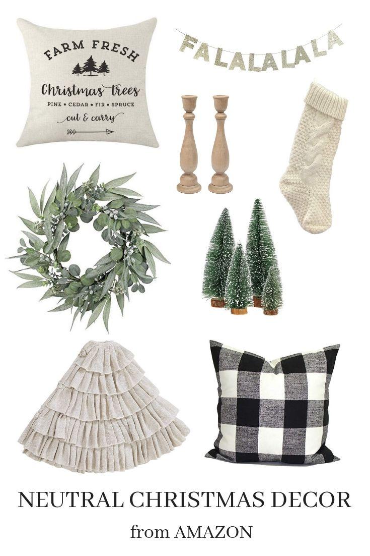 Cute neutral modern farmhouse style Christmas finds from Amazon! #modernfarmhousestyle
